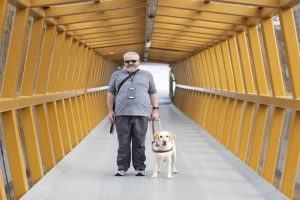 man with guide dog both inside wooden bridge